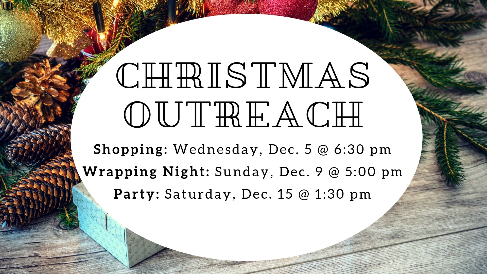 CHRISTMAS OUTREACH, DECEMBER 5th, 9th & 15th, 2018 - The Journey